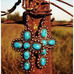 Stylish Cross Boho Alloy Turquoise Women's Earrings 2 PCS