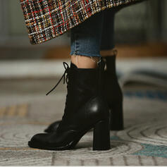 Women's PU Chunky Heel Ankle Boots Pointed Toe With Lace-up shoes
