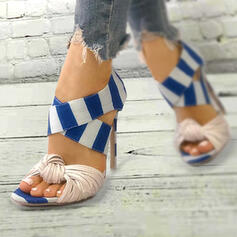 Women's PU Stiletto Heel Sandals Pumps Peep Toe Heels With Splice Color shoes