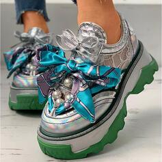 De mujer PU Tacón plano Top bajo Zapatillas con Perla Cordones Color de empalme zapatos