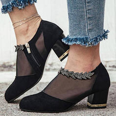 Women's Cloth Mesh Chunky Heel Boots Ankle Boots Low Top Round Toe With Stitching Lace shoes
