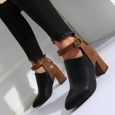 De mujer PU Tacón en cono Salón con Color de empalme zapatos