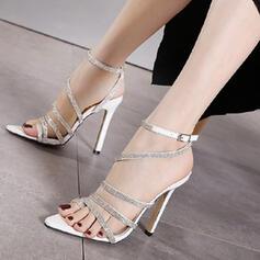 Women's PU Stiletto Heel Sandals Pumps With Sparkling Glitter Buckle shoes