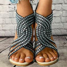 Women's PU Low Heel Sandals With Rhinestone Zipper Hollow-out shoes