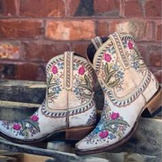 Women's Microfiber Chunky Heel Mid-Calf Boots With Flower Embroidery shoes