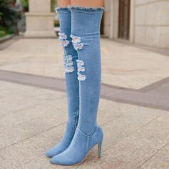 De mujer Tela Tacón stilettos Botas sobre la rodilla Dedo del pie puntiagudo con Cremallera zapatos