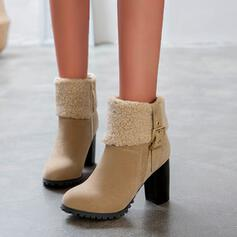 Women's PU Cone Heel Ankle Boots Round Toe With Buckle Zipper shoes