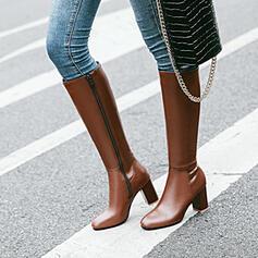 De mujer PU Tacón ancho Botas a la rodilla Encaje con Color sólido zapatos