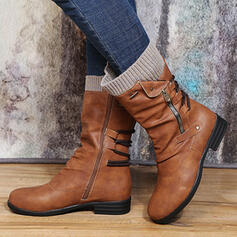 Women's PU Low Heel Ankle Boots Low Top With Zipper Lace-up shoes