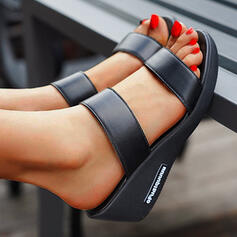 Women's PU Wedge Heel Sandals Wedges Peep Toe Slippers With Hollow-out Bandage shoes
