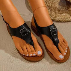 Women's PU Flat Heel Sandals Peep Toe Flip-Flops With Buckle Hollow-out Solid Color shoes