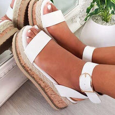 Women's PU Wedge Heel Sandals With Buckle Hollow-out shoes