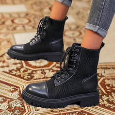 Women's Leatherette Cloth PU Chunky Heel Martin Boots With Lace-up Solid Color shoes