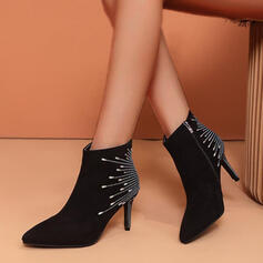 Women's Suede Stiletto Heel Boots Ankle Boots With Rhinestone shoes
