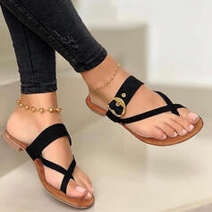 Women's PU Low Heel Sandals Slippers Toe Ring With Hollow-out Solid Color Crisscross shoes