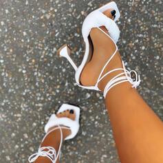 Women's PU Stiletto Heel Sandals Pumps Square Toe With Bandage shoes