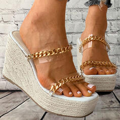 Women's PVC Wedge Heel Sandals Platform Wedges Peep Toe Slippers With Chain shoes