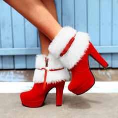 Women's Suede Chunky Heel Ankle Boots Pointed Toe With Bowknot Lace-up shoes