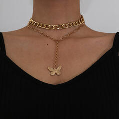 Fashionable Sexy Vintage Butterfly Alloy Rhinestones With Butterfly Women's Ladies' Necklaces 2 PCS