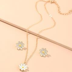 Diseño Floral Aleación con floral Sistemas de la joyería Collares Pendientes 3 PIEZAS