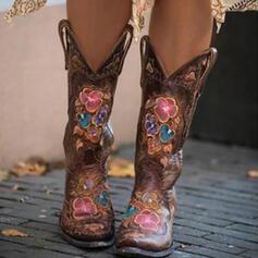 De mujer PU Tacón ancho Botas longitud media Botas de equitación con Bordado zapatos