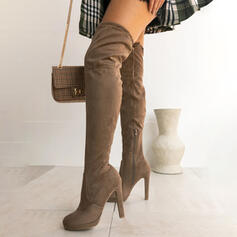 Women's Suede Stiletto Heel Mid-Calf Boots Round Toe With Zipper Solid Color shoes