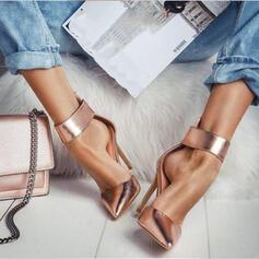 De mujer PU Tacón stilettos Salón Dedo del pie puntiagudo con Cremallera Agujereado zapatos