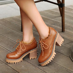 De mujer PU Tacón ancho Salón Encaje con Cordones zapatos