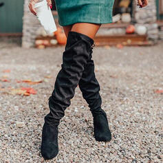 Women's PU Chunky Heel Boots With Ruched Zipper Lace-up Solid Color shoes