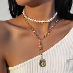 Fashionable Vintage Alloy Imitation Pearls With Pearls Women's Girl's Necklaces 2 PCS