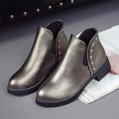 De mujer PU Tacón ancho Botas al tobillo Encaje con Rivet Color sólido zapatos