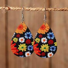 Sunflower Drop Shape St. Patrick's Day PU Women's Earrings 2 PCS