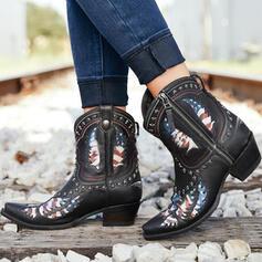 De mujer PU Tacón ancho Botas al tobillo Dedo del pie puntiagudo con Rivet Cremallera zapatos