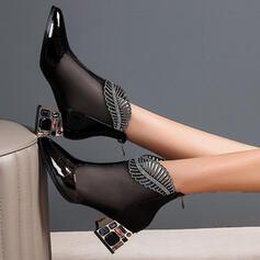 Women's PU Chunky Heel Boots Martin Boots With Rhinestone shoes