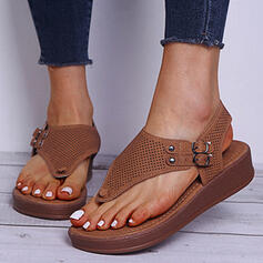 Women's Leatherette Wedge Heel Sandals Peep Toe Flip-Flops With Hollow-out Solid Color shoes