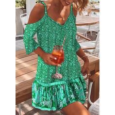 Impresión/Floral Mangas 3/4/Top sin hombros Tendencia Sobre la Rodilla Casual/Bohemio/Vacaciones Vestidos