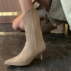 Women's Suede Stiletto Heel Boots With Solid Color shoes