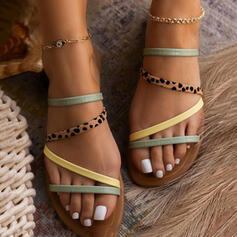 Women's PU Flat Heel Sandals Peep Toe Slippers With Animal Print Splice Color shoes