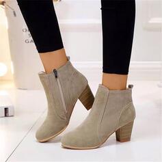 De mujer Ante Cuero Tacón ancho Cerrados Botas al tobillo Dedo del pie puntiagudo con Cremallera zapatos
