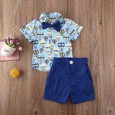 2-pieces Toddler Boy Bowknot Cartoon Button Print Cotton Set