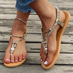 Women's PU Flat Heel Sandals Flip-Flops With Rhinestone Hollow-out Elastic Band shoes