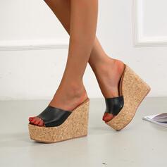 Women's Microfiber Wedge Heel Sandals Wedges Peep Toe Slippers Heels Round Toe With Solid Color shoes