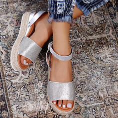 Women's Sparkling Glitter Wedge Heel Sandals Wedges With Rhinestone shoes