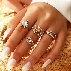 Shining Boho Alloy Rhinestones Women's Ladies' Rings 4 PCS