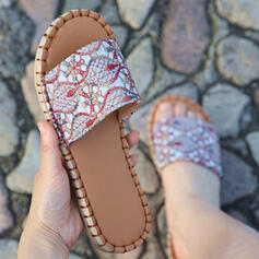 Women's PU Flat Heel Sandals Flats Peep Toe Slippers With Floral Print shoes
