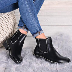 Women's PU Low Heel Ankle Boots Round Toe Chelsea Boots With Solid Color Breathable shoes