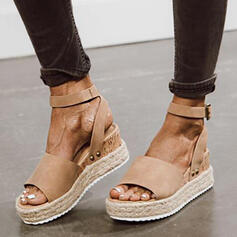 Women's Suede Wedge Heel Sandals With Buckle Solid Color shoes