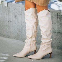 Women's PU Stiletto Heel Knee High Boots Pointed Toe With Ruched Zipper Solid Color shoes