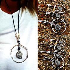 Vintage Elegant Romantic Alloy Leather With Circle Decor Women's Ladies' Unisex Necklaces