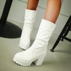 De mujer PU Tacón ancho Plataforma Botas longitud media con Color sólido zapatos